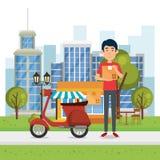 Travailleur de la livraison avec le caractère de moto illustration libre de droits