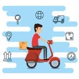 Travailleur de la livraison avec le caractère de moto illustration stock