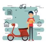 Travailleur de la livraison avec le caractère de moto illustration de vecteur