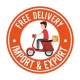 Travailleur de la livraison dans la moto Photo libre de droits