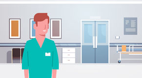 Travailleur de médecine de médecin Clinics Hospital Interior d'homme Image stock