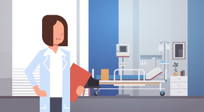 Travailleur de médecine de médecin Clinics Hospital Interior de femme Photo stock