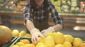 Travailleur de magasin de jeune femme dans des sortes brunes d'un tablier par les agrumes, les oranges et les citrons frais banque de vidéos