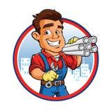 Travailleur de plombier de bande dessinée Photo stock