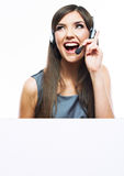 Travailleur de service client de femme avec le grand conseil vide Photographie stock
