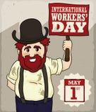Travailleur de sourire tenant un jour des travailleurs de commémoration de bannière, illustration de vecteur Photo libre de droits