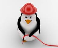 travailleur du feu du pingouin 3d avec le concept de pompe de pépin de l'eau Photos stock