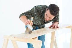 Travailleur employant la brosse sur la planche en bois Photographie stock libre de droits