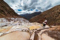 Travailleur en bassins de sel sur les Andes péruviens Image libre de droits