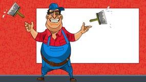 Travailleur gai de bande dessinée avec des spatules sur le fond d'un panneau d'affichage vide illustration de vecteur
