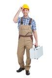 Travailleur manuel avec la boîte à outils photos stock