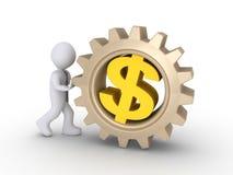Travailleur poussant la roue dentée du dollar Photo stock