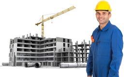 Travailleur professionnel au chantier de construction Photographie stock libre de droits