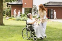 Travailleur social amical donnant le thé à la femme agée paralysée dans un wh photos stock