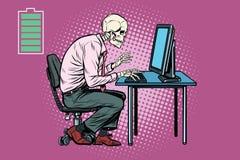 Travailleur squelettique travaillant sur l'ordinateur Illustration de Vecteur