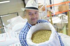 Travailleur tenant de pleins grains de café de sac Photographie stock libre de droits