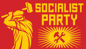 Travailleur tenant un marteau - affiche de parti politique Images stock