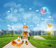 Travailleur tridimensionnel se tenant sur le fonctionnement de route Image libre de droits