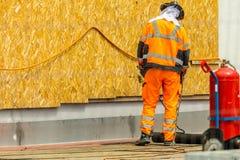 Travailleurs conzept sur une construction de routes, une industrie et de travail d'équipe travail image stock