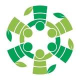 Travailleurs d'équipe d'arbre généalogique avec le logo de feuille illustration de vecteur