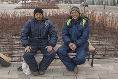 Travailleurs d'Asie moyenne en Russie Images libres de droits