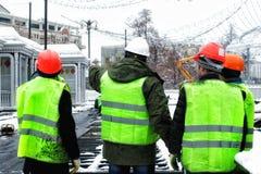 Travailleurs de chantier de construction photos stock