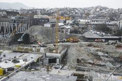 Travailleurs de chantier de construction - airshot - vue supérieure Photos stock