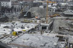 Travailleurs de chantier de construction - airshot - vue supérieure Image libre de droits