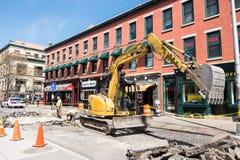 Travailleurs de construction de routes Images libres de droits