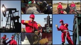 Travailleurs de gisement de pétrole banque de vidéos
