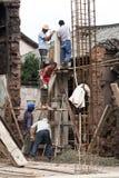 Travailleurs de la construction en Chine Photo libre de droits