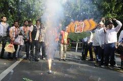 Travailleurs de partie de Bjp célébrant pendant l'élection dans l'Inde Photo libre de droits