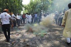 Travailleurs de partie de Bjp célébrant pendant l'élection dans l'Inde Photo stock