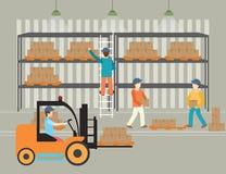 Travailleurs des boîtes de charge d'entrepôt illustration de vecteur