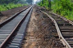 Travailleurs ferroviaires réparant le chemin de fer le jour chaud d'été Image stock