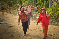 Travailleurs migrants de femmes en Thaïlande Images libres de droits