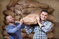 Travailleurs portant des sacs de ciment Image libre de droits