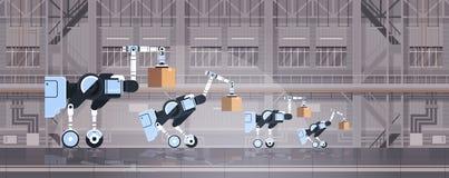 Travailleurs robotiques chargeant le concept intérieur de technologie d'automation de logistique d'entrepôt futé de pointe d'u illustration de vecteur