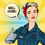 Travailleuse active Faire des gestes de femme grand Réparatrice de femme Images libres de droits
