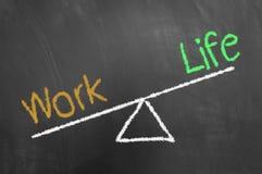 Travaillez le dessin de craie de déséquilibre de la vie sur le tableau noir ou le tableau photos stock
