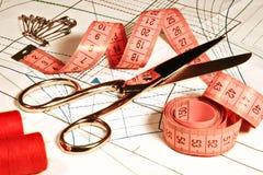 Travaillez les accessoires de Sewing sur la courbe de tissu, ouvrière couturière Scissors Images libres de droits