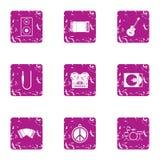 Travaillez pendant que musicien que les icônes placent, style grunge Photos libres de droits