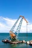 Travaux de construction dans le port Photographie stock