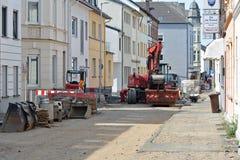 TRAVAUX DE CONSTRUCTION DE ROUTES Photo stock