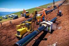 Travaux de construction sur l'installation de la canalisation Installation et construction de gazoduc photos libres de droits