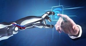 Travaux de main robotiques avec l'icône dans la réalité virtuelle rendu 3d Photos stock