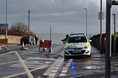 Travaux de stabilisation de Swanage de barrage routier de police Image libre de droits