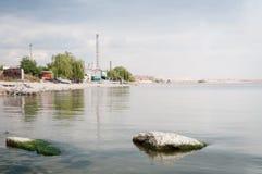 Travaux métallurgiques avec de la fumée. Mariupol, Ukraine photo stock