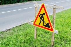Travaux routiers de panneau routier Image libre de droits