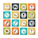 Travaux. Set of colorful and flat construction icons Stock Photos